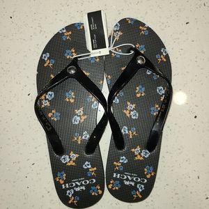 Coach Black Flip-flops,  Size 9
